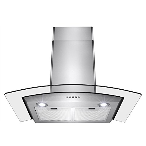 """Perfetto Kitchen and Bath 30"""" Convertible Wall Mount Range Hood in Stainless Steel with LEDs, Push Controls & Tempered Glass"""