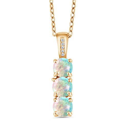 Gem Stone King 1.54Ct Cabochon Simulated Opal and Diamond 18K Yellow Gold Plated Silver 3 Stone Pendant