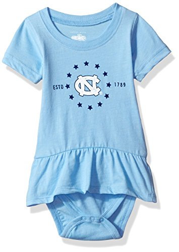 (NCAA North Carolina Tar Heels Children Girls Short Sleeve Ruffle Onesie,12M,NC Blue Blend)