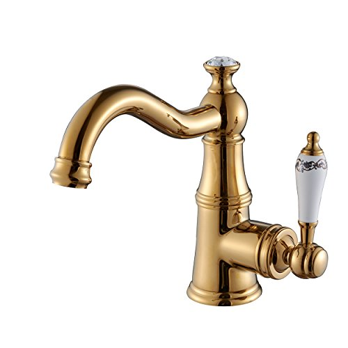 Fapully Contemporary Touch on Bathroom Sink Faucet,Solid Brass Construction Single Handle Swivel Spout Vanity Sink Faucet,PVD Gold