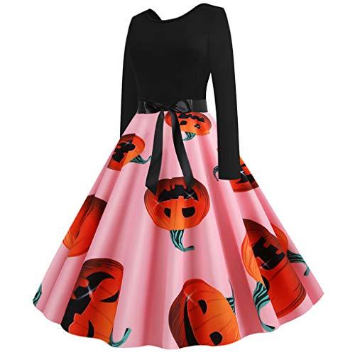 COM1950s Halloween Dresses Womens Dress Vintage Long Sleeve Cocktail Swing Dress Skeleton Pumpkin Printed Cosplay Evening Party Prom Costume Dress (Skeleton Basket)