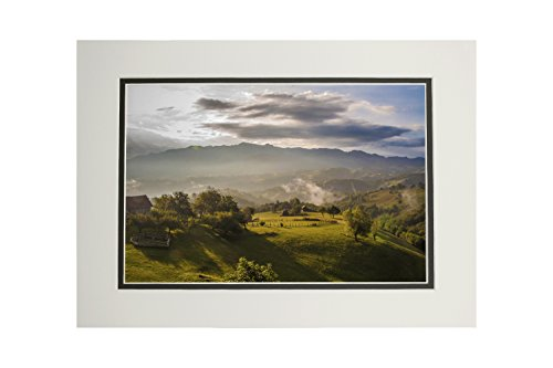 (Farms on Hillside - Mountain Morning Mist (11x14 Double-Matted Art Print, Wall Decor Ready to)