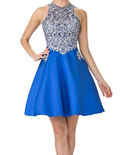 Linie Steine Royal Blau mit Promkleider Abschlussballkleider Damen A Spitze Kurz Cocktailkleider Mini Abendkleider Charmant xIw7Ow