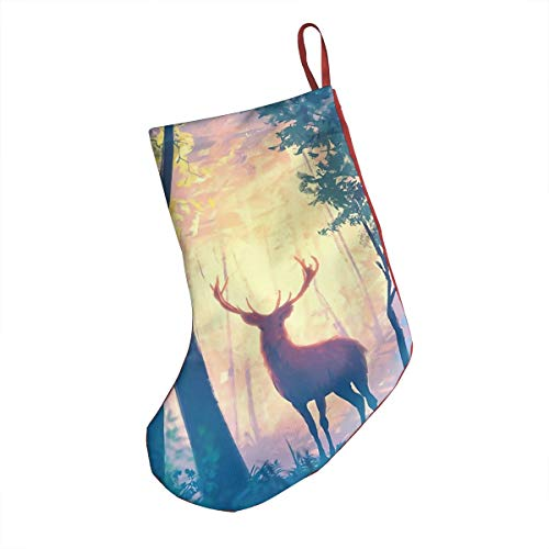 EtenorLife Deer Stand in Forest with Twilight Christmas Stockings Decoration Xmas Socks 18 Inch Large Holder Big New Year Home Party Supplies Item Accessories