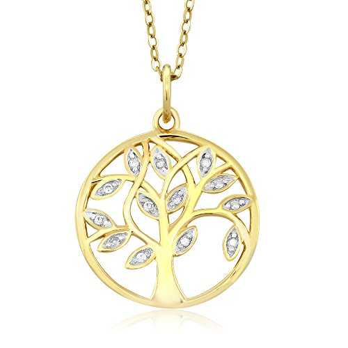 De Diamond Bezel (18K Yellow Gold Plated 925 Sterling Silver Tree Of Life Accent Diamond Pendant Necklace with 18 Inch Chain)