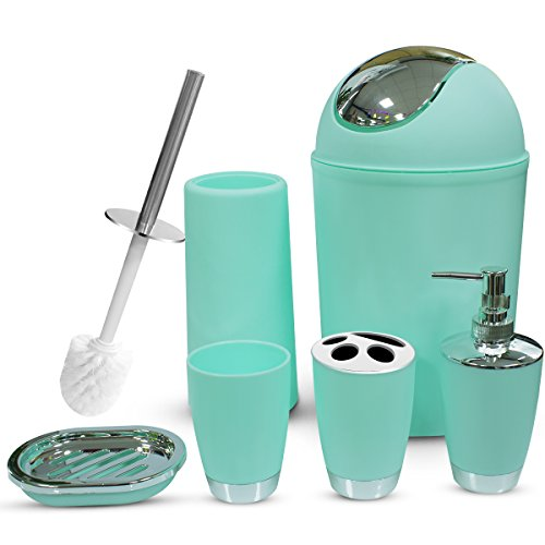 TEKITSFUN Mint Bathroom Accessories Set, 6 Piece Plastic Bathroom Accessory Gifts By Soap Dispenser, lotion dispenser, Soap Bar Holder, Tooth Brush Holder, Trash Can, Toilet Brush Set, Rinse Cup by TEKITSFUN