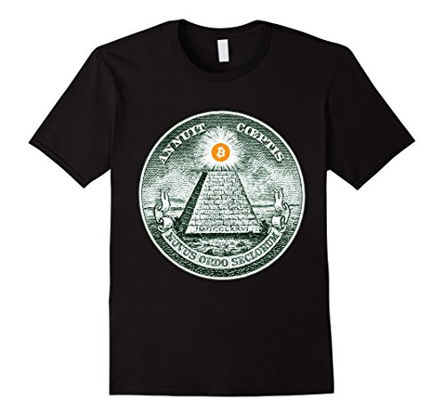 Mens Bitcoin at the top of the Dollar Pyramid Illuminati T shirt 2XL Black