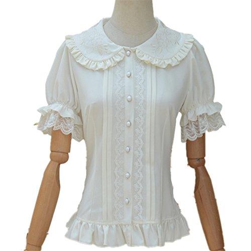 Lace Puff Short - TanQiang Women's Sweet Lolita Shirt Short Puff Sleeve Flower Embroidered Peter Pan Collar White Ruffle Blouse (XL)