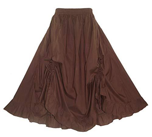 Beautybatik Brown Cotton Boho Gypsy Long Maxi Victorian Flare Skirt 3X
