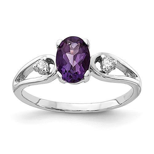 14K White Gold 7x5mm Oval Amethyst AA Diamond Ring Amethyst Aa Diamond Ring