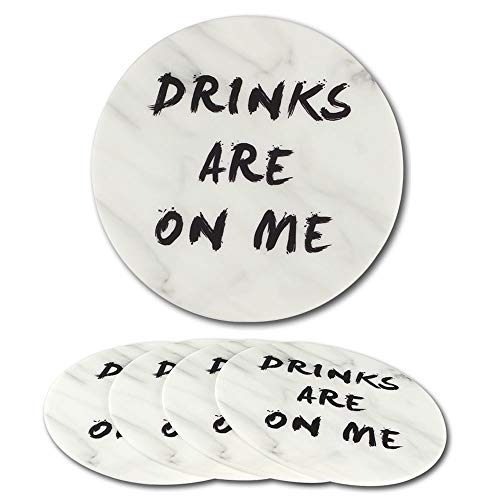 """Coasters for Drinks Absorbent Funny - DATYSON Bar Coaster Set No Holder with Marble Pattern, 4 Pack 5"""" Washable Silicone Cup Mat For Men, Women, as Housewarming Gift, Home Decor"""