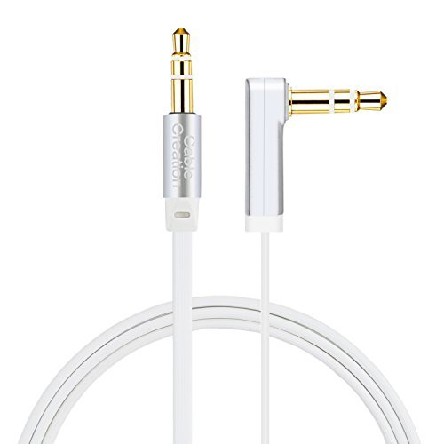 Aux Cable, CableCreation 6 FT Flat 3.5mm Auxiliary Audio Stereo Cord 90 Degree Right Angle Compatible Car,Home Stereos, Headphones,Apple iPod iPhone iPad, Smartphone, MP3 Player,Silver and White