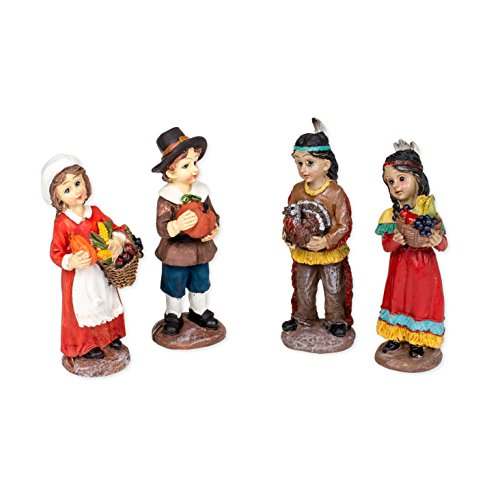 Thanksgiving Pilgrims and Indians 4 Inch Resin Harvest Tabletop Figurines Set of 4