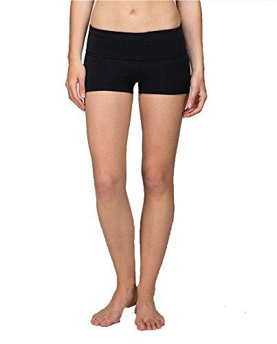 Yoga Shorts for Women (Black/Black, XS/4)