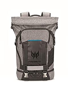"""Acer Predator Rolltop Gaming Backpack, Water Resistant Lightweight Travel Backpack Fits and Protects Up to 15.6"""" Gaming Laptops, Grey with Teal Accents (B07CQMBX97) 
