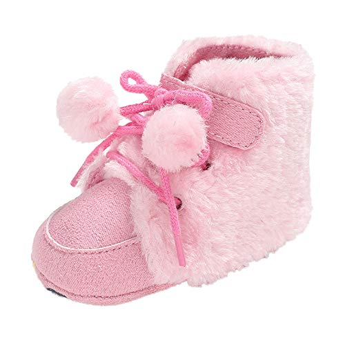 Baby Winter Warm Boots,Jchen(TM) Baby Girl Boy Soft Booties Hairball Lace Up Snow Boots Toddler Winter Warm Shoes for 0-18 Months (Age: 0-6 Months, Pink)