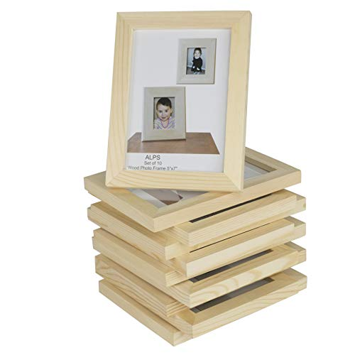 Wallniture DIY Projects Unfinished Solid Crafting Wood Picture Frames for 5x7 Inch Pictures Set of 10]()
