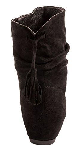 Bequeme Flache Elara Wildlederoptik Klassiche Schlupfstiefel Black Stiefeletten Damen Boots 4Anq6w1Un