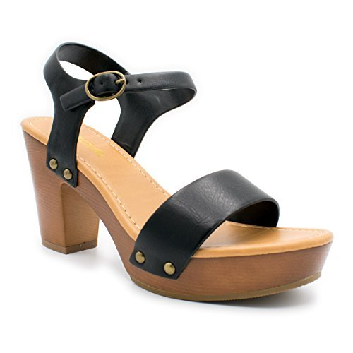 fc7f877d1050f Galleon - Soda Women s Bold Buckles Studded Wedge Sandal In Black Tan  Leatherette MVE Shoes