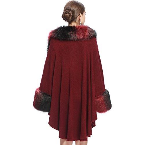 Rosso Elegante Scialli Kaxidy Mantelle Cappotti E Scialle Capispalla Vino Poncho Mantelli Donne xZqHawvq