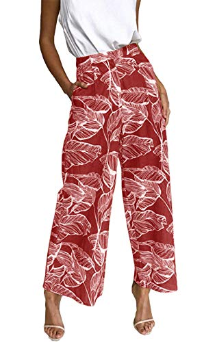 BTFBM Women's Casual Floral Print High Waist Wide Leg Long Palazzo Pants with Pockets (Red, Medium)