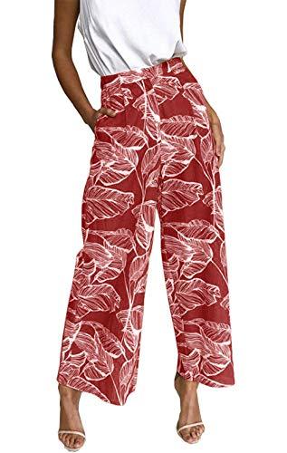 (BTFBM Women's Casual Floral Print High Waist Wide Leg Long Palazzo Pants with Pockets (Red, Medium))