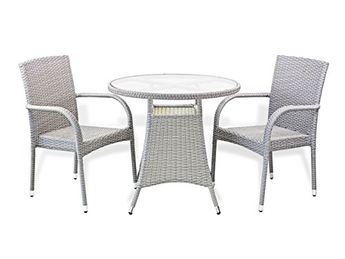3 Pc Patio Resin Outdoor Wicker Dining Set Round Table W
