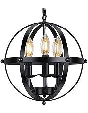 Industrial Pendant Light Vintage Spherical Pendant Lighting with 3 E12 Chandelier Lamp Base Farmhouse Black Metal Kitchen Dining Room Light Fixture, 1-Pack