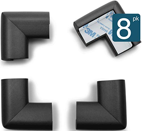 Price comparison product image Roving Cove / Baby Proofing Table Corner Guards / Soft Caring Baby Corners / Safe Corner Cushion / Child Safety; Rubber Furniture Bumper Protector / Pre-Taped / 8-Piece Onyx (black)