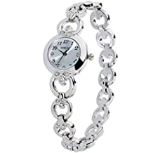 Time100 Women's Watches Bracelet Diamond Oval Dial Ladies Fashion Dress Quartz Wrist Watch (White-2)