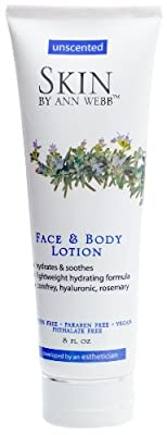 Skin By Ann Webb Unscented Face and Body Lotion, 8 Fluid Ounce