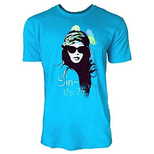 SINUS ART ® Schöne Frau mit Stirnband und Sonnenbrille Herren T-Shirts in Karibik blau Cooles Fun Shirt mit tollen Aufdruck