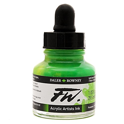 Light Green Ink - Daler-Rowney FW Acrylic Artists Ink, 1 oz, Light Green (160029348)
