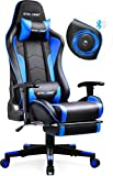 GTRACING Gaming Chair with Speakers & Footrest Bluetooth Video Game Chair Heavy Duty Ergonomic High-Back Computer Office Desk Chair Blue