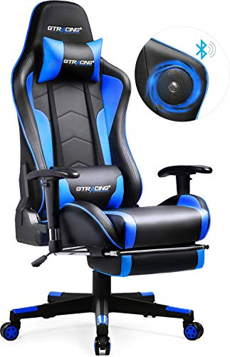 GTRACING Gaming Chair with Speakers & Footrest Bluetooth Video Game Chair Heavy Duty Ergonomic High-Back Computer Office Desk Chair Blue GTRACING