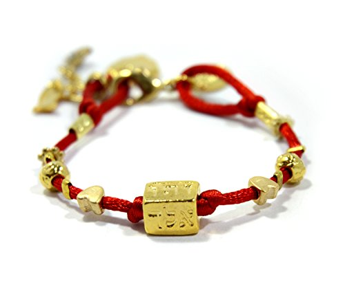 Red Bracelet String Hamsa Gold (MIZZE Made for Luck Four Names Kabbalah Red String Bracelet for Evil Eye Protection Jewelry for Women)