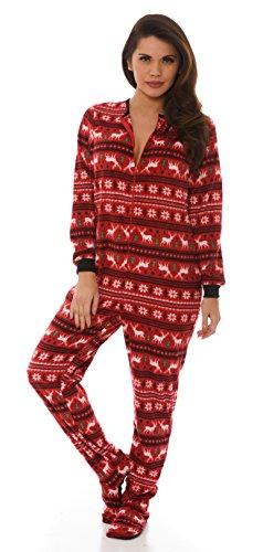 Velvet Kitten Footloose Footed PJ Footie Pajamas 532914 (Medium, Red) Christmas Onesies Adults