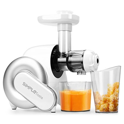 SimpleTaste Electric Masticating Juicer Extractor, Slow Juicer for High Nutrient Fruit and Vegetable Juice, White