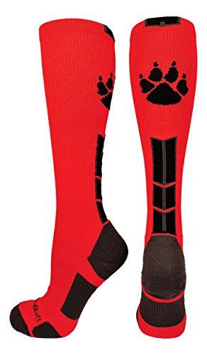 MadSportsStuff Wild Paw Over the Calf Socks (Scarlet/Black/Graphite, (Red Lion Kids Soccer Socks)