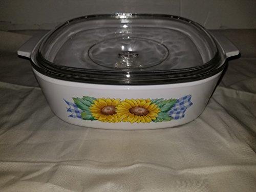 Corning Ware Sunflower A-2-8 2L (2 Liter) Baking Dish with Lid (Sunflower Corningware)