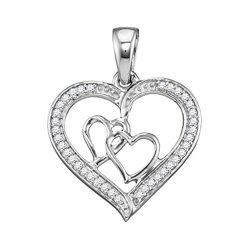 Sonia Jewels 925 Sterling Silver Round Diamond Triple Heart Outline Pendant (1/8 Cttw) ()
