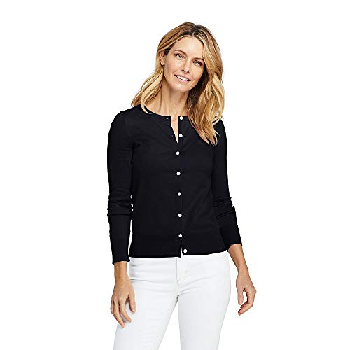 (Lands' End Women's Petite Supima Cotton Cardigan Sweater, M, Black)