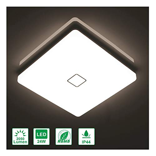 Airand 24W LED Flush Mount Ceiling Light 4000K 12.6 inch Square LED Ceiling Lamp with 240Pcs LED Chips Without Flicker, 2050 Lumens, 180W Incandescent Bulbs Equivalent, 80Ra+, IP44 (Cool White)