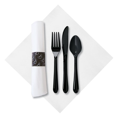 Hoffmaster 119984 FashnPoint CaterWrap Pre-rolled Dinner Napkin and Heavyweight Cutlery, Crescent, White/Black (Case of 100) (Cutlery Rolled Pre Black)