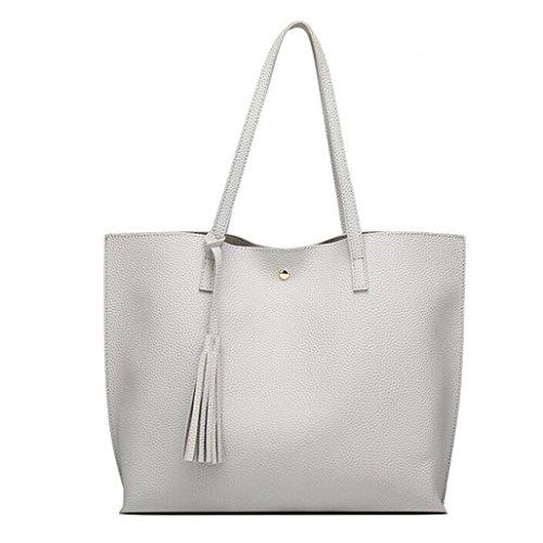 Women Girls Tassels Leather Bag Shopping Handbag (Gray) by Napoo-Bag