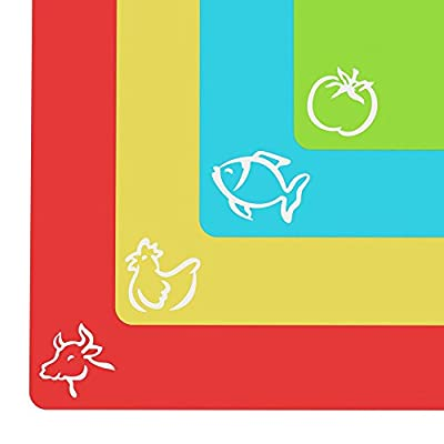 """Extra Thick Flexible Plastic Cutting Board Mats With Food Icons & """"EZ-Grip"""" Waffle Back(Set Of 4) by Cooler Kitchen"""