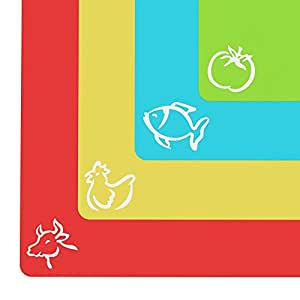 "Extra Thick Flexible Plastic Cutting Board Mats With Food Icons & ""EZ-Grip"" Waffle Back(Set Of 4) by Cooler Kitchen"