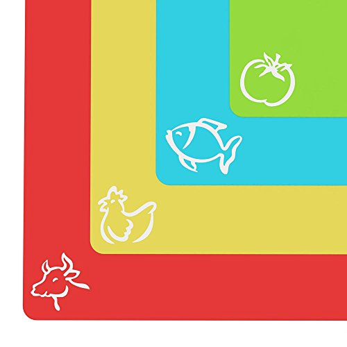 Extra Thick Flexible Plastic Cutting Board Mats With Food Icons &