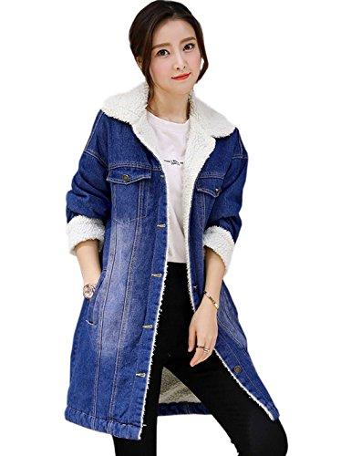 Flygo Women's Classic Warm Sherpa Lined Mid-Long Denim Jacket Jean Coats Outwear (Small, Blue)