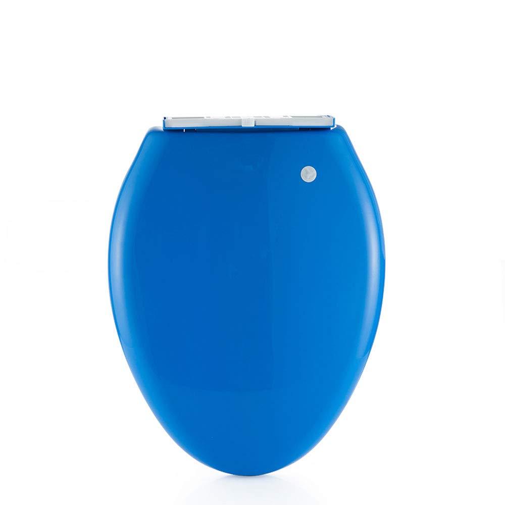 KR Toilettensitz Dicker Vielseitiger V-Typ Toilettendeckel Oberteile Farbe Toilette Toilettendeckel Schnellverschluss Toilettendeckel Old Fashioned Zubehör,Blau